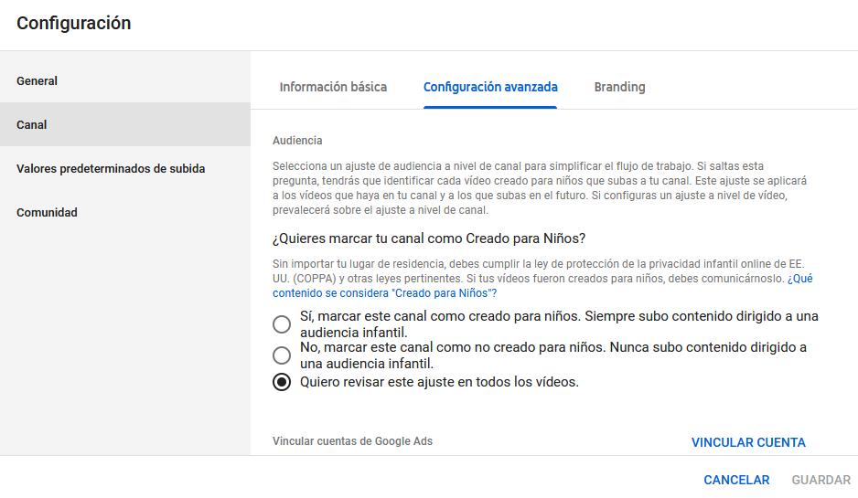 Configuración Ley Coppa en Youtube