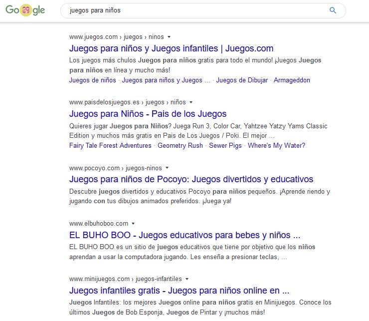 Juegos para niños según Google
